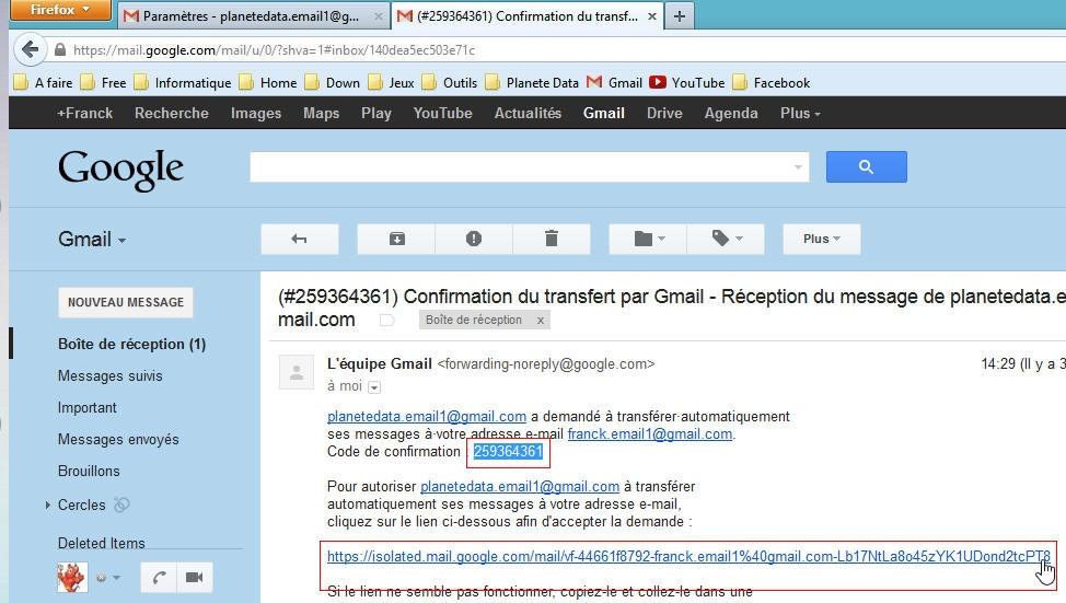 boite réception gmail